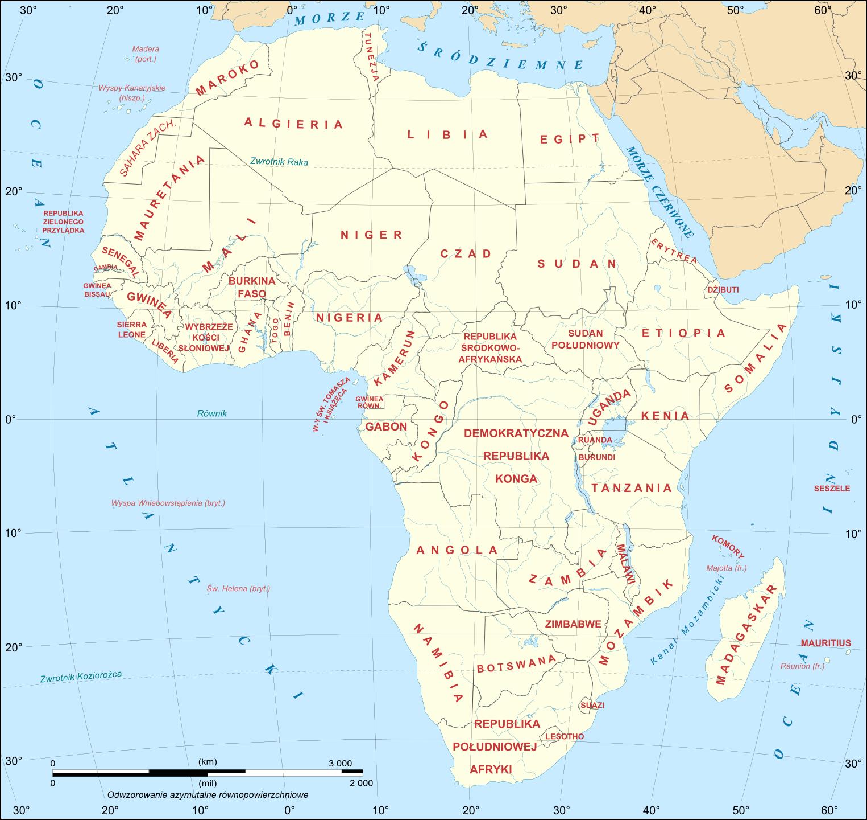 Państwa w Afryce - Mapa polityczna Afryki