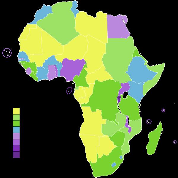 Mapa gęstości ludności z podziałem na państwa