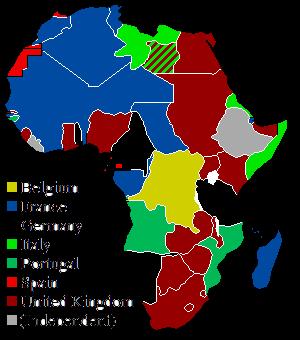 Mapa koloni w Afryce z podziałem na państwa które je posiadały