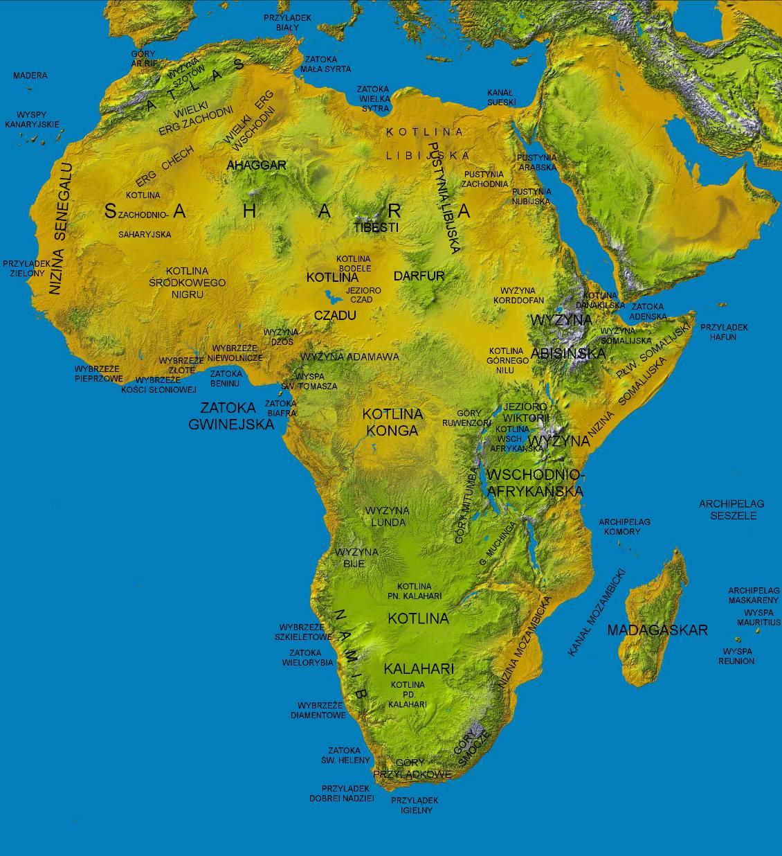 Mapa fizyczna Afryki