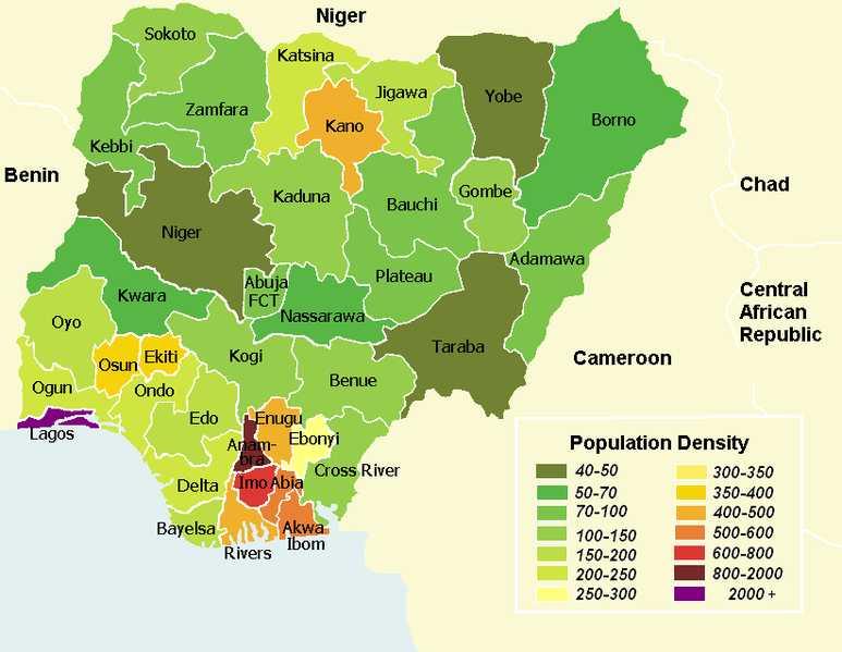 Gęstość zaludnienia w Nigerii - podział na stany